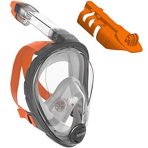 Ocean Reef ARIA Snorkeling Mask Easy Breath Full Face Design, Anti-fog Snorkel (Orange w/ Camera Support, Small / Medium)