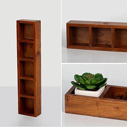 MKChung 5 Grids Wooden Succulents Flowerpot Storage Box Balcony Desktop Organizer (5 grids)