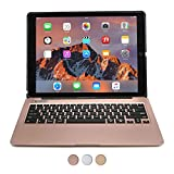 """iPad Pro 12.9 keyboard case, [NEW] COOPER KAI SKEL A1 Backlit Aluminum Bluetooth Wireless Keyboard Macbook Clamshell Case Cover with Rechargeable Battery Power Bank for Apple iPad Pro 12.9"""" Rose Gold"""