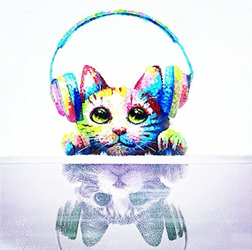 Beatifully Qearl 100 Hand Painted Oil Painting Animal Cat with Headset with Stretched Frame Wall Art for Home Decor Ready to Hang 32×32 Inch