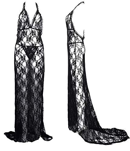 7a4d5cc5c88 IngerT Women Nightwear Bow Spaghetti Straps Open Front Sexy Lingerie Dress   Amazon.ae  THESMURFS
