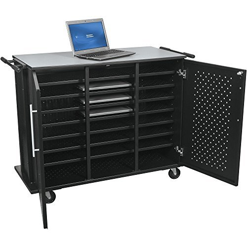 Computer Security Cart - DMD Laptop Charging Storage Cart and Workstation, Tablet, Laptop, and Notebook Charging Station with Locking Security Cabinet, Stores up to 24 Devices