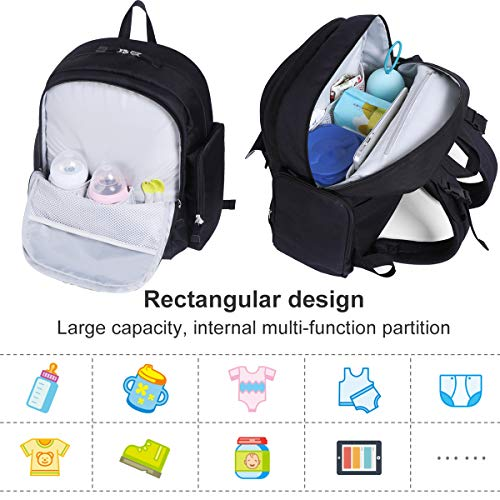 Landuo Backpack Diaper Bag with Changing Pad, Stylish Travel Multifunctional Maternity Baby Nappy Bag for Mom & Dad, Large Capacity