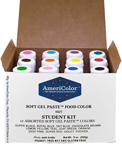 Food Coloring AmeriColor Student Kit, 12 .75 Ounce Bottles Soft Gel Paste Colors