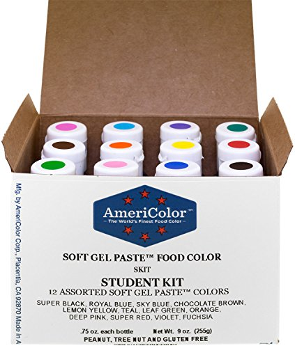 Food Coloring AmeriColor Student Kit, 12 .75 Ounce Bottles Soft Gel Paste Colors