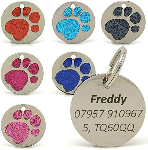 Personalised Engraved 25mm Glitter Paw Print Tag BOLD BLACK LETTERING Dog Cat Pet ID Tags (Light Blue)