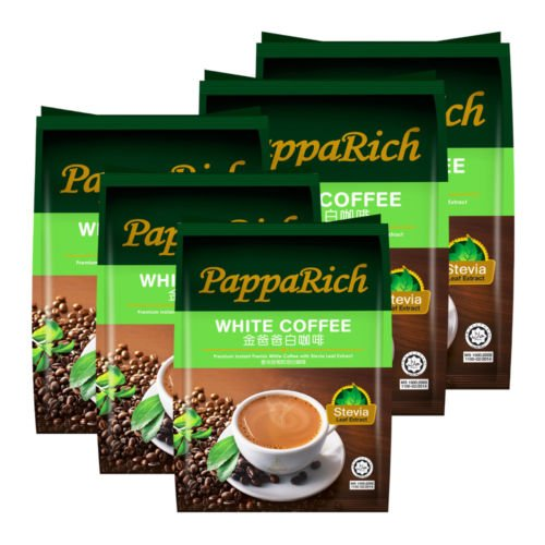 Papparich Premium Instant White Coffee with Stevia Leaf Extract 4 Pack ( 1 Pack contains 12 Sachets) by Papparich