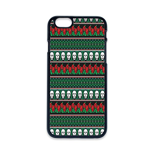 - Phone Case Compatible with iPhone5 iPhone5s 2D Print Black Edge,Skulls Decorations,Mexican Folk Art Skulls and Roses Knitted Pattern,Hard Plastic Phone Case
