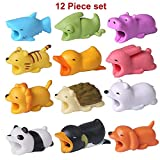 Papaproduct Cute Animal Smartphone Accessories (12-Pack) USB Cable Chomper Bite Buddies | Colorful, Fun, Anime Style Cord Protectors Kids, Teens, and Adults Universal Cellphone Use