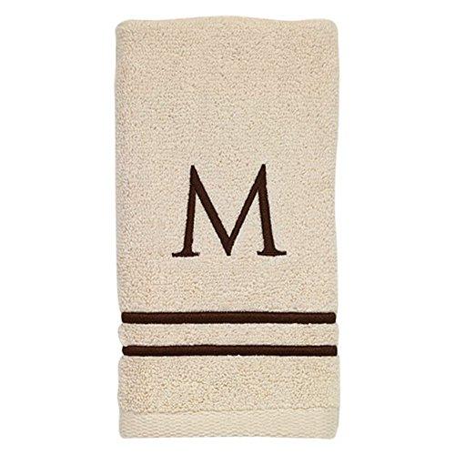 Avanti Linens 050876M Block Monogram Bath/Hand and Fingertip Towel Kit, Medium, Ivory/Mocha