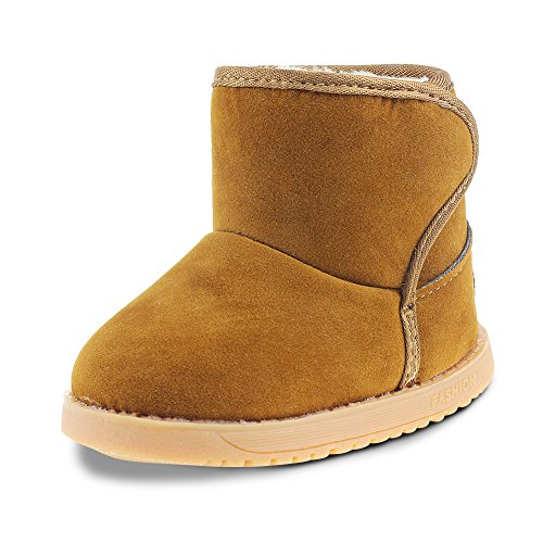 Maxu Toddler Kids Slip on Winter Snow Boots,Brown,5.5M by Chiximaxu
