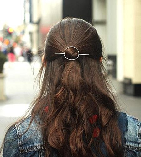 - Leiothrix Vintage Alloy Silver Circle Hair Clip for Women and Girls on any Occasion