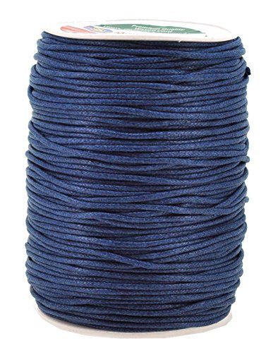 Mandala Crafts 2mm 109 Yards Jewelry Making Beading Crafting Macramé Waxed Cotton Cord Rope (Navy Blue) - Blue Leather Cord