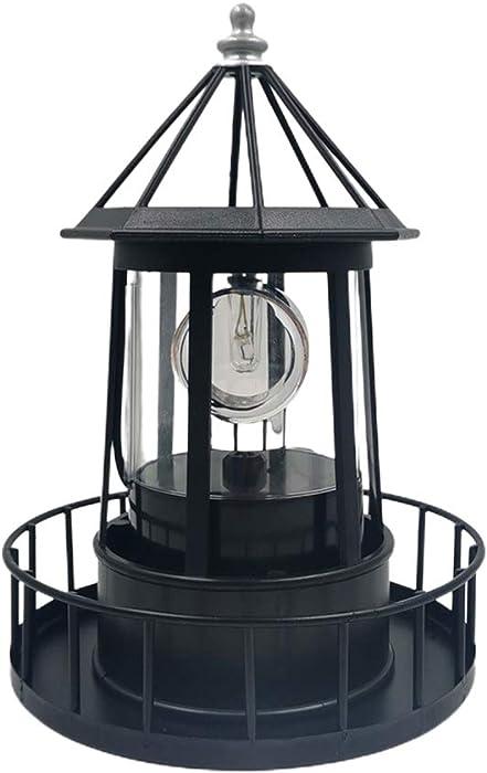CALIDAKA LED Solar Powered Lighthouse 360 Degree Rotating Lighthouse Landscape IP65 Waterproof Durable Rotatable Outdoor Solar Light Lamp Hanging for Home Garden Yard Decor