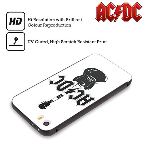 Officiel AC/DC ACDC Guitare Principale Iconique Noir Étui Coque Aluminium Bumper Slider pour Apple iPhone 5 / 5s / SE