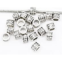 50pc Antique Silver Spacer Beads Large Hole Fits European Bracelets