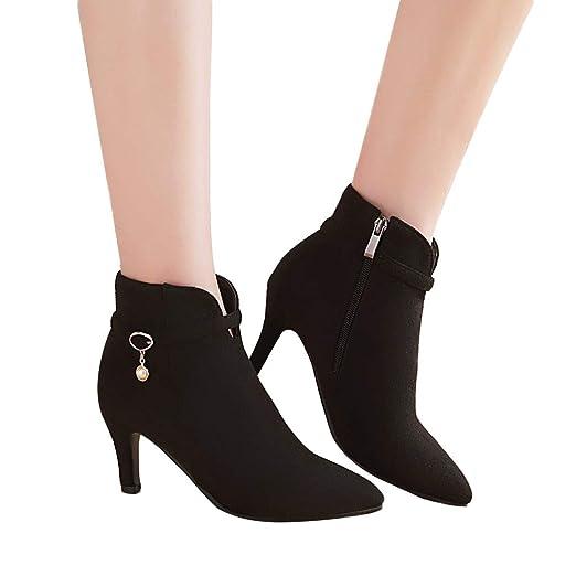 246057bb3a53b Women's Trendy Buckle Strap Side Zipper Ankle Booties High Heel Short Boots