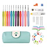Kalawen 39 PCS Crochet Hooks Set, 12 Ergonomic Crochets Aluminum Soft Handles 9 Knitting Needles 10 Stitch Markers with Measure Tape Row Counter Thread Cutting Ring Scissor Twist Pins Portable Case