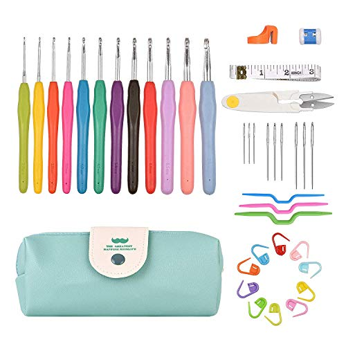 (Kalawen 39 PCS Crochet Hooks Set, 12 Ergonomic Crochets Aluminum Soft Handles 9 Knitting Needles 10 Stitch Markers with Measure Tape Row Counter Thread Cutting Ring Scissor Twist Pins Portable Case)
