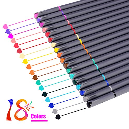 Bullet Journal Planner Pens Colored Pens Fine Point Markers Fine Tip Drawing Pens Porous Fineliner Markers for Writing Note Taking Calendar Coloring Book Art Supplies (18 Colors Fineliner Pen Set)