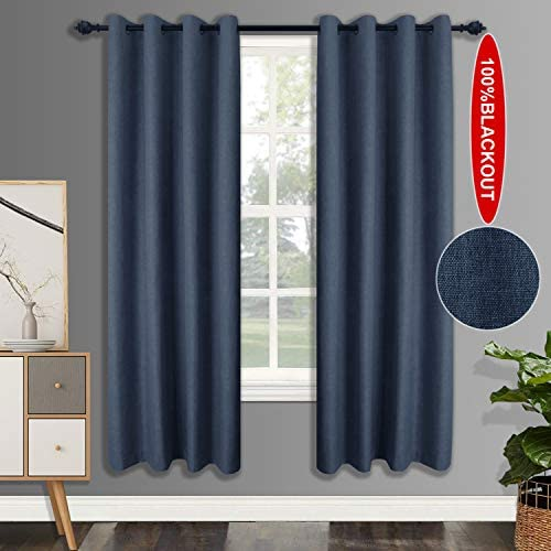 csoft 100 Blackout LinenCurtains with 4 Pass Coating, Energy Efficient Thermal Insulated Window Drapery, Linen Room Darkening Curtains for Living Room Bedroom Dark Blue 52W X 96L Ihch 2 Panels