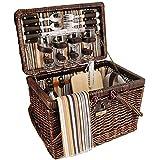 Vintage Styling Wicker Picnic Basket Set For 4 Brown 28 pcs Wine Glasses