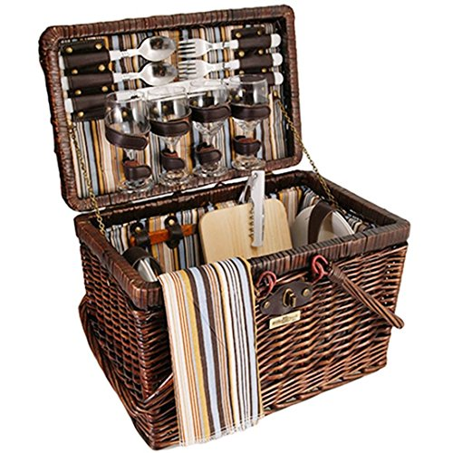 Vintage Styling Wicker Picnic Basket Set For 4 Brown 28 pcs Wine Glasses