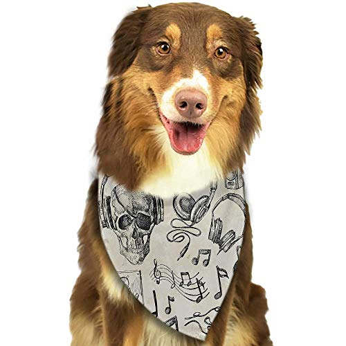 (Cute pet Scarf Music Sketchy Background Hipster Skull with Headphones Record Player Mic Speakers Print W27.5 xL12 Scarf for Small and Medium Dogs and Cats)