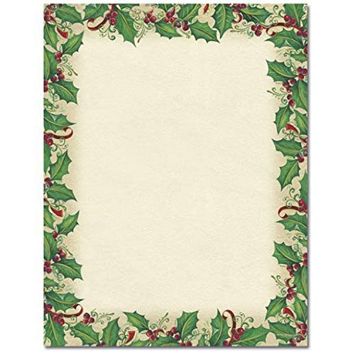 Great Papers! 2011356 Dancing Holly Holiday Letterhead Stationery, Multicolor 80 Pack (Christmas Art Letterhead)