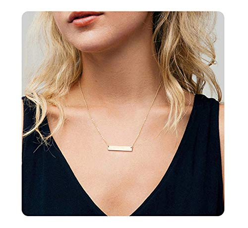 S.J JEWELRY Fremttly Womens Simple Delicate Handmade 14K Gold Filled/Rose Gold/Silver Simple Delicate Heart and Bar Chokers Necklace for Mothers ()