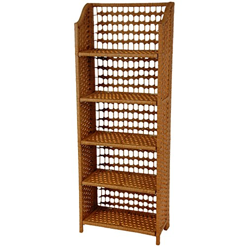 "Oriental Furniture 53"" Natural Fiber Shelving Unit - Honey"
