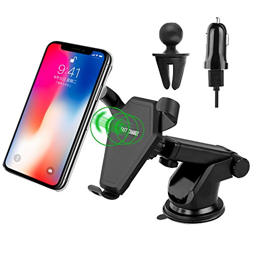 Qi Wireless Car Charger, Car Mount Wireless Charger, Fast Wireless Car Charger for Samsung Galaxy Note 8, Galaxy S8/ S8 Plus, S7/S7 Edge, iPhone 8 Plus, iPhone X, Nexus 5 and LG All Qi-enabled Devices