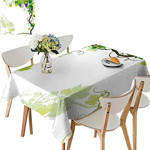 UHOO2018 Polyester Fabric Tablecloth Square/Rectangle Frame with Swirled Fresh Cluster Garden Plant Lush Design Purple Green for Picnic,Outdoor or Indoor,50x 50inch -