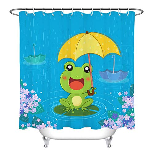 (zonxn Kids Cartoon Frog Umbrella Rainy Day Shower Curtain Bathroom Screens Waterproof Polyester Fabric for Bathtub Decor with 12 Hooks-72inX72in)