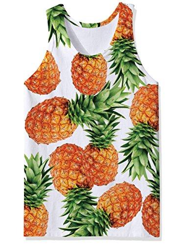 RAISEVERN Tank Tops Summer, Mens Cool Pineapple Funny Casual Tank Top Tees XL