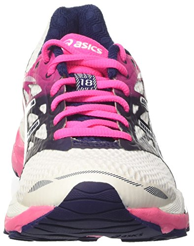 Asics Gel-Cumulus 18, Zapatillas de Gimnasia para Mujer Blanco (White /     Indigo Blue /     Hot Pink)