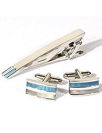 Rectangular Cat's Eye Stone Cufflinks Platinum Plated Opal Men Tie Bar Clip and Cufflinks Set