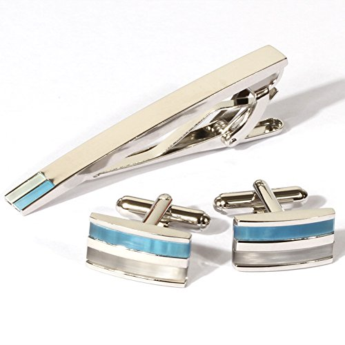 Digabi Plated Platinum Rectangular Cat's Eye Cufflinks and Tie Clip Set with Nice Box (Blue) Cat Eye Bar End