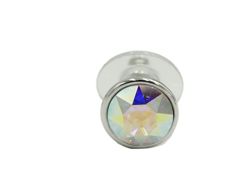 Swarovski Elements Aurora Borealis Bella Earrings Rhodium Plated Push Back Aurora Borealis Stud Earrings