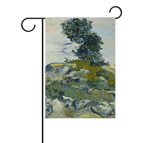 Pittsburgh Pirates Rock (Blue Viper Van Gogh Painting The Rocks Garden Flag Waterproof Polyester Fabric and Mildew Resistant for Outdoor Lawn and Garden Double Side Print 12 x 18 inch)