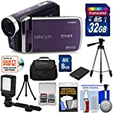 Minolta MN50HD 1080p HD Video Camera Camcorder (Purple) 32GB Card + Battery + Tripods + Case + LED Light + Kit