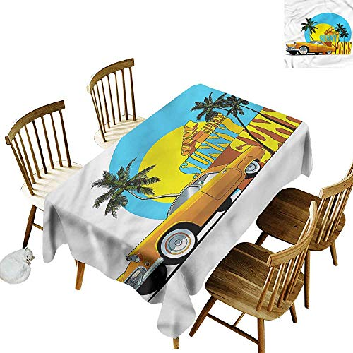 (Rectangular Tablecloth Retro Vintage Car in City Miami Party Decorations Table Cover Cloth 60
