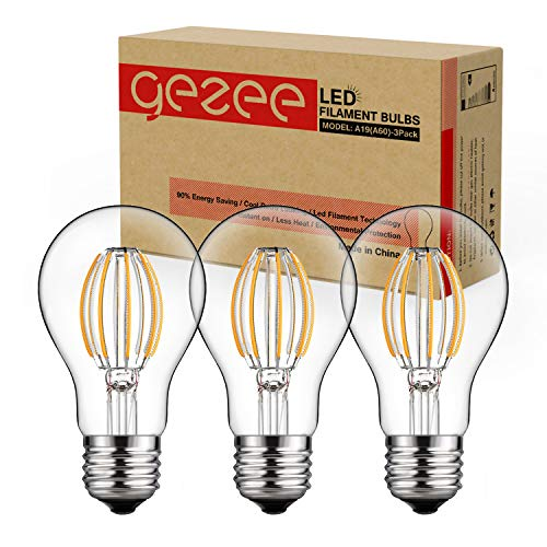 75w A19 Incandescent Bulb - GEZEE Dimmable LED Edison Bulbs 2700K Warm White 8W / 800LM, 75-80W Incandescent Equivalent E26 Medium Base, A60(A19) Vintage LED Filament Bulbs, Retro 360 Degrees Beam Angle (3-Pack)