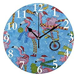 HangWang Wall Clock Pink Flamingo Birds Out Silent Non Ticking Decorative Round Digital Clocks for Home/Office/School Clock