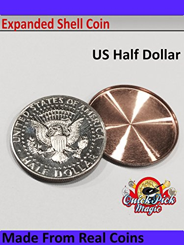QUICK PICK MAGIC US HALF DOLLAR EXPANDED COIN SHELL / 50 CENT EXPANDED SHELL MADE FROM REAL COINS