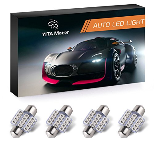 YITAMOTOR Red DE3175 31mm LED Festoon Bulbs 1.25 Inch 3528 Chipsets Bulbs For Car Interior Dome Light 3021 3022 3175 6428, Pack of 4