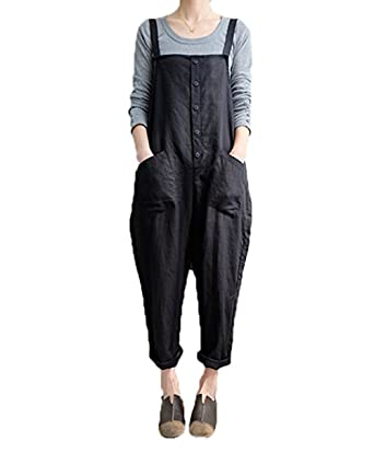 exclusive shoes discount shop buying now Aedvoouer Women's Casual Overalls Cotton Jumpsuit Rompers Large Plus Size  Harem Wide Leg Pants