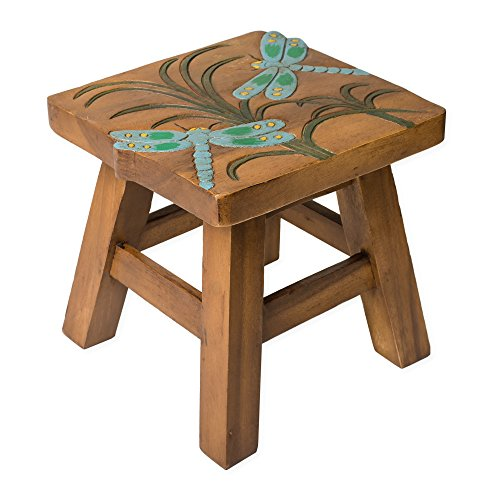 Dragonfly Design Hand Carved Acacia Hardwood Decorative Short Stool by Sea Island