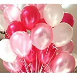 GrandShop 50285 Metallic HD Toy Balloons, Red/White/Pink (Pack of 50)