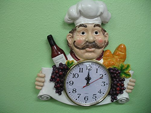 3D Italian FAT French chef WALL Clock BISTRO Kitchen NEW Decor bar set waiter. (Wall Chef compare prices)